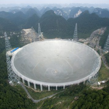 """The world's largest radio telescope named """"FAST"""" is seen before being put into use on Sunday, in Pingtang county, Guizhou province, China"""